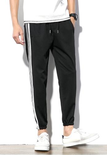 hk-ehunter black Men White Stripe Cropped Pants C3AB9AA86CEAAEGS_1