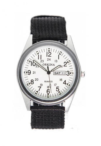 Chronomart black and silver Orkina Date Display Nylon Strap Fashion Wrist Watch 6537BAC8231A8BGS_1