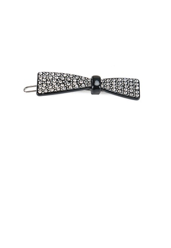 Glamorousky white Fashion Bright Ribbon Black Hair Clip with Cubic Zirconia 9FCCDAC8AA6946GS_1