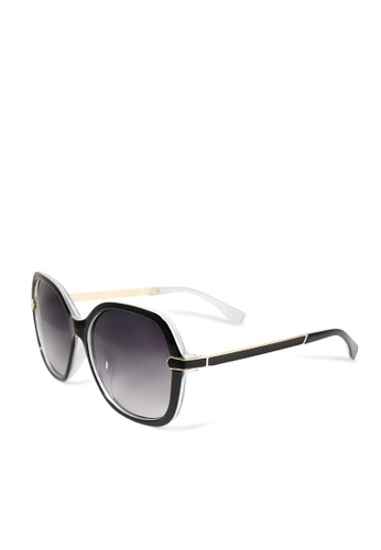 ASLLY black and white and multi Daydream club│Rectangle black sunglasses 9DDA6GL842C1F9GS_1