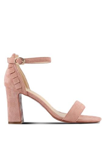 Velvet pink Frill Block Heels 5DD9ASHD25D927GS_1