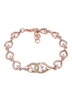 Treasure by B&D B036 Heart Shape Rolo Chain Czech Drilling Charm Bracelet + Adjustable Tail Chain