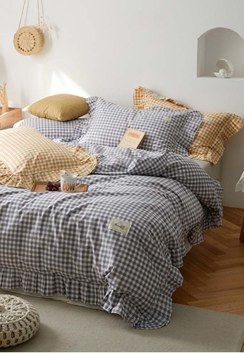 Milliot & Co. grey Mia Check Printed Quilt Cover Set D6D4DHL2C22BFAGS_1