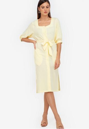 ZALORA WORK yellow Puff Sleeve Square Neck Midi Dress D3953AAF426BF1GS_1