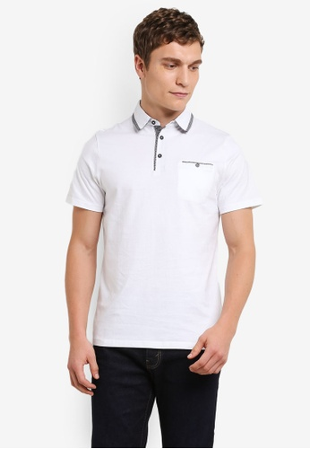 Burton Menswear London white White Double Collar Polo Shirt BU964AA0S2B9MY_1