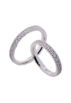 Full Eternity Silver Couple Ring with Artificial Diamonds lr0002