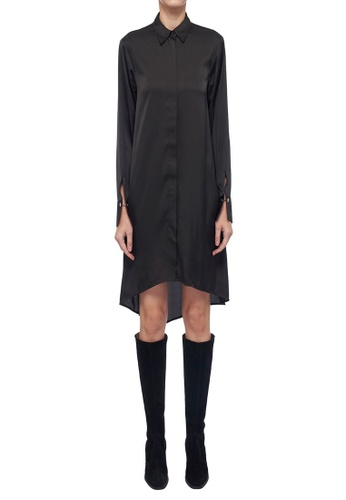 ck Calvin Klein 黑色 輕薄軟緞連衣裙 D7004AA260AD34GS_1