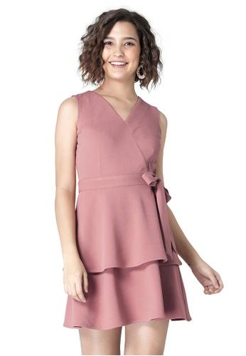 FabAlley pink Dusty Pink Tiered Side Tie Skater Dress 8DE51AA0275B03GS_1
