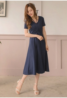 522add42938c 20% OFF Yoco V-Neck Chest Strap Ruched Sleeves Dress S  49.90 NOW S  39.90  Sizes S M L