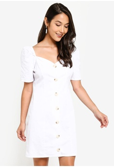 541b9ffed8fa MISSGUIDED white Square Neck Button Detail Dress 532BAAA9135132GS_1