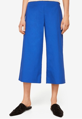 MANGO blue Cotton Crop Trousers 543C7AA5771710GS_1