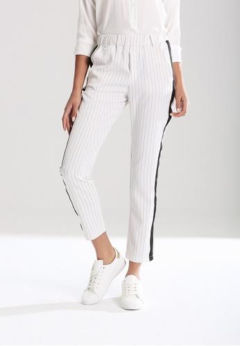 London Rag white Elastic Waist Striped Pants D1B34AA615908DGS_1