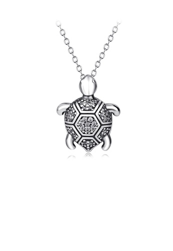 Glamorousky white 925 Sterling Silver Fashion Cute Turtle Pendant with Cubic Zirconia and Necklace C6FBEAC88B92DDGS_1
