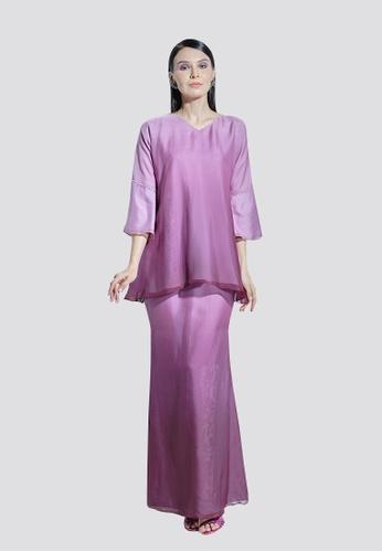 Nadjwazo by LadyQomash purple Lily Kurung Modern Silk Chiffon F9E80AA4E4AABAGS_1