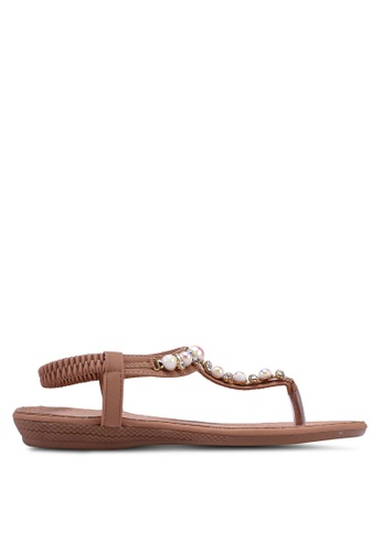 Mimosa brown and pink Embellished Flat Sandals E1F63SH0C14E61GS_1