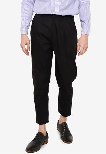 ZALORA BASICS black Crop Tapered Trousers B8555AA945F226GS_1
