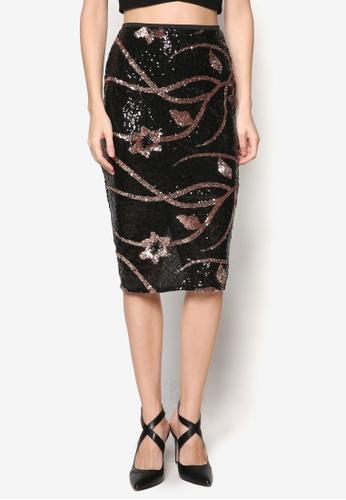 River Island black Lisa Floral Sequin Pencil Skirt RI009AA80WZFMY_1