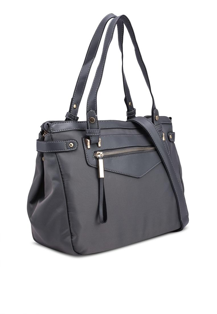 ... Grey Trimmed Nylon Black Bag Work Convertible NUVEAU Friday Tote PU  TaSx1qwwB ... d02a31541eb30