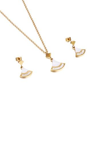 Glamorousky 白色 簡約時尚鍍金色扇形鋯石316L鋼項鏈和耳環套裝 38EBFACE603313GS_1