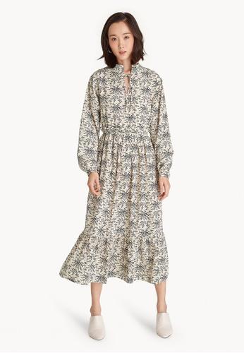 ef4cc9d82d55 Pomelo beige Long Sleeve Boho Maxi Dress - White 0E2ACAADC49489GS 1