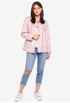 184639f3aa6b 58% OFF Miss Selfridge Pink Oversized Washed Biker Jacket S  143.00 NOW S   59.90 Sizes 6 8 10