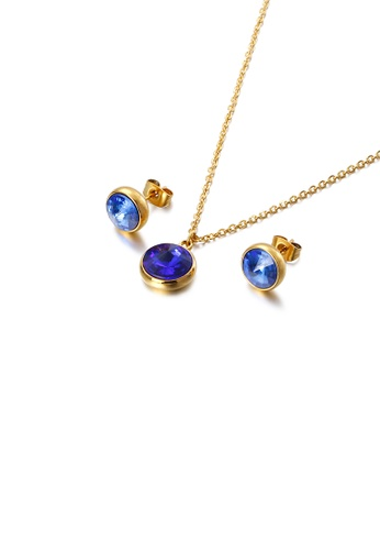 Glamorousky blue Fashion and Simple Plated Gold Geometric Round 316L Stainless Steel Necklace and Stud Earrings Set with Blue Cubic Zirconia BEFF8ACC47AAD3GS_1