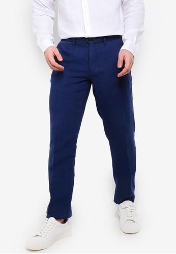 MANGO Man navy Slim-Fit Linen Trousers A610EAAF8B5464GS_1