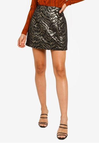 Mink Pink black and gold Friday Forever Mini Skirt D4FBFAA9739556GS_1