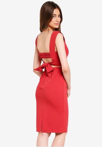 INDIKAH red Back Tie Pencil Dress 09F98AADBC1E0BGS_1