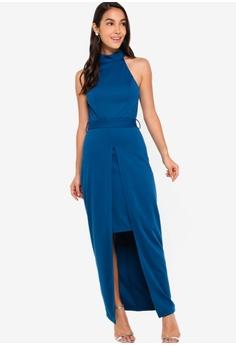 2357dd8ca3 45% OFF ZALORA EVENING Halter Neck Split Detail Maxi Dress S$ 44.90 NOW S$  24.90 Sizes XS S M L XL