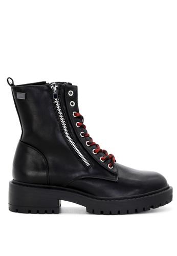 RAG&CO black Black Lace-up Combat Boots with Zipper RCSH1740 24EA7SH82ECD4AGS_1