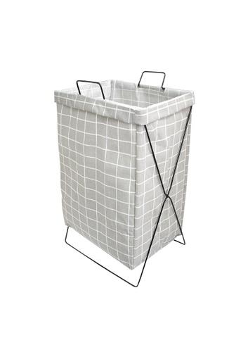 HOUZE grey HOUZE - Grey Checkered Laundry Bag with Matt Gold Steel Frame 38BBEHL96F3411GS_1