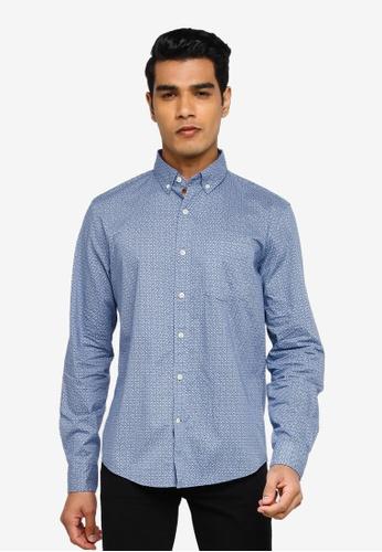 GAP blue V-Su Long Sleeve Poplin Shirt 89226AA04F96BDGS_1