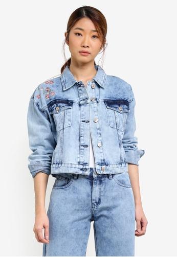 Something Borrowed blue Embroidery Oversized Denim Trucker Jacket 4853EZZ686E59EGS_1