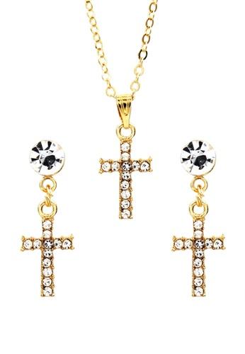 Venice Jewelry gold Venice Cross Necklace and Earrings Set VE564AC0IJ9JPH_1