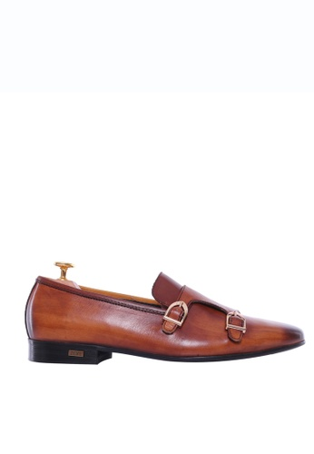 Zeve Shoes brown Zeve Shoes Loafer Slipper - Cognac Tan Double Monk Strap (Hand Painted Patina) A809DSHE5AD6B6GS_1