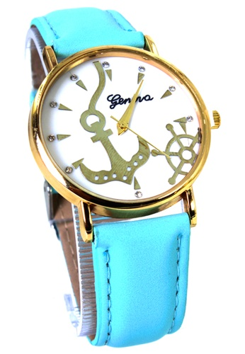 World of Watches blue Geneva Sailor Women's Sky Blue Leather Strap Watch WO566AC71MHOPH_1