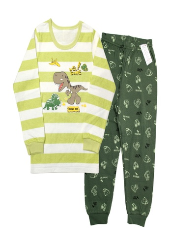 Organic mom green Boys Autumn-Winter Dinosaur Pajamas 965E6KAAAA2E06GS_1