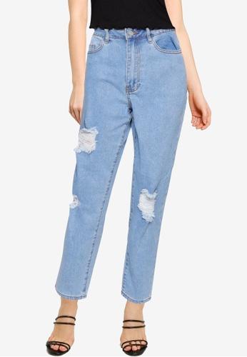 MISSGUIDED 藍色 Petite Comfort Stretch 刷破Mom 牛仔褲 1B26FAAF24AE59GS_1