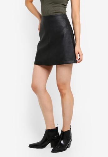 Supre black PU A-Line Skirt 5E814AA2C010EEGS_1