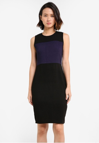 ZALORA BASICS black Essential Colour Block Fitted Dress BD490AA7006E06GS_1