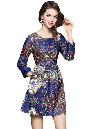 Sunnydaysweety multi Round Neck Floral One Piece Dress K20042509 536D3AA467B6D5GS_1