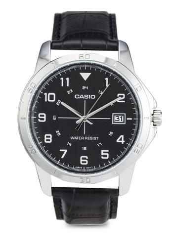Casio MTP-V008L-1BUDF 皮革圓錶, 錶類, 飾品配esprit holdings limited件