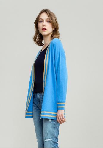 KLAPS blue Cashmere-blend Cardigan C8461AA9E34898GS_1