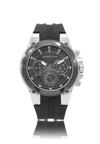 London Rag black Men's Casual Watch With Silicone Strap 9E305AC8B62E92GS_1