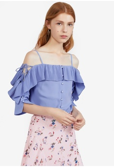 91c0db5726150 Hopeshow purple Mid Sleeve Off Shoulder Spaghetti Top 9C235AA47BB070GS 1