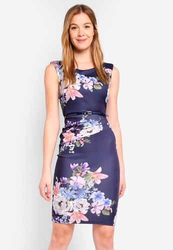 Dorothy Perkins navy Scarlett B Bodycon Dress With Belt E399AAAA7EB7C9GS_1