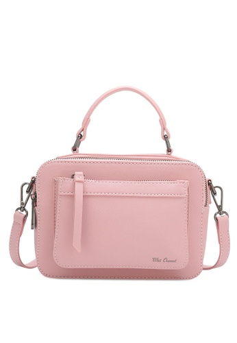 Wild Channel pink Faux Leather Top Hand Bag 9847DACEF942ECGS_1