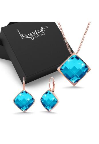 Krystal Couture gold KRYSTAL COUTURE Boxed Orental Princess Set Quamarine-Rose Gold/Blue C58A1AC927C986GS_1
