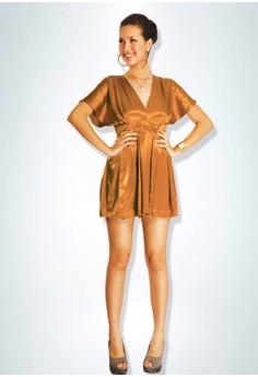 Devidasi Copper Rama Pleated Cocktail Dress